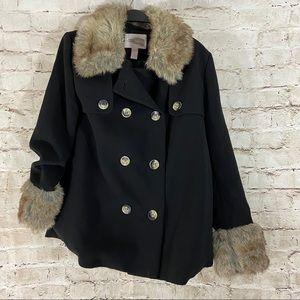 NWOT black fur pea coat size small